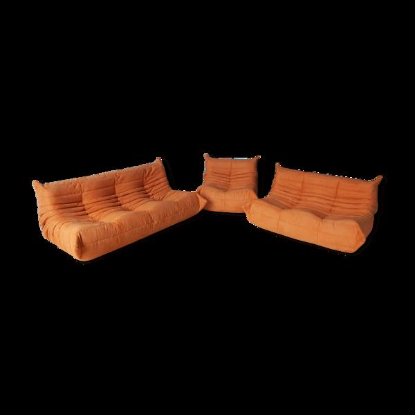 Set de 3 canapés Togo en tissu orange par Michel Ducaroy pour Ligne Roset