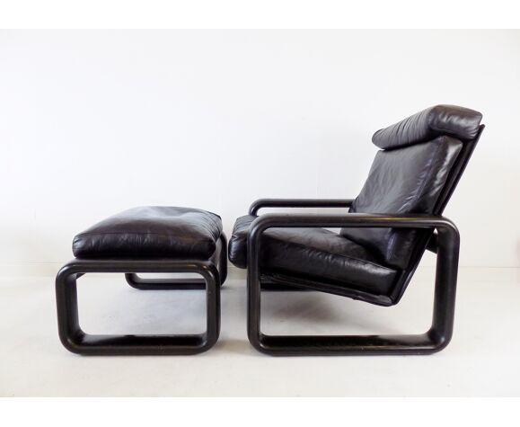 Rosenthal Hombre fauteuil en cuir avec pouf par Burkhard Vogtherr