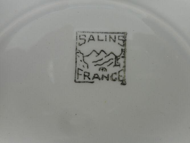 """Six assiettes plates en faïence """"Salins"""""""
