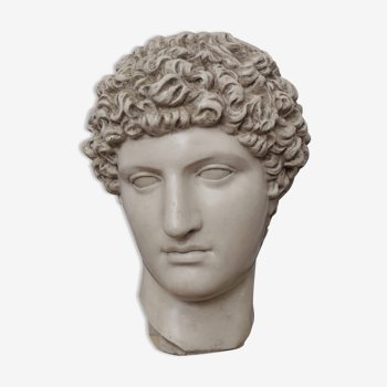Tête grecque en plâtre ivoire ciré