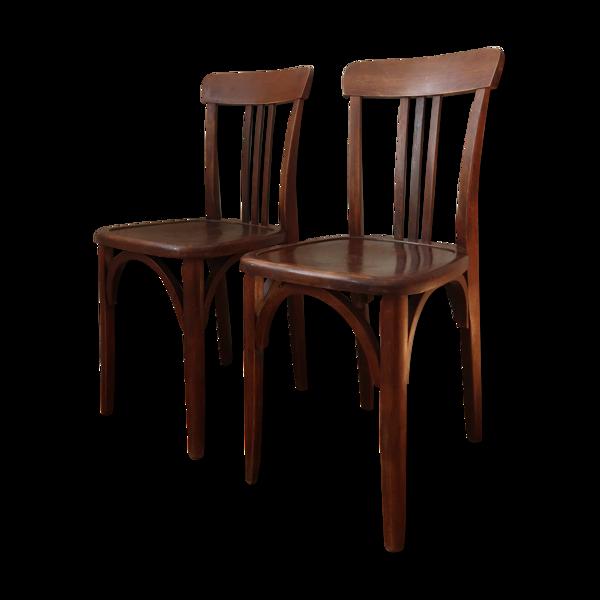 Paire de chaises bistrot patinées