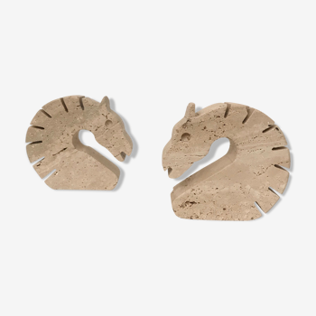 """Pair of travertine """"horse"""" bookbands by Fratelli Mannelli"""