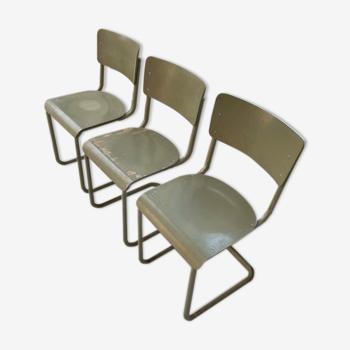 Trio de chaises Tubax 1950