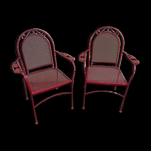 Paire de fauteuils de jardin en fer forgé