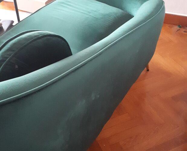 Méridienne contemporaine en velours vert
