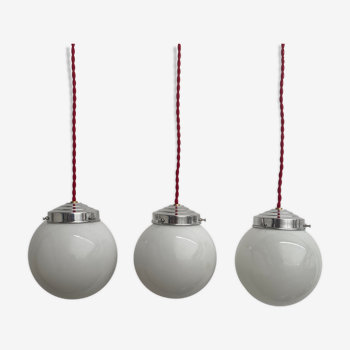 Lot 3 petites suspensions opaline 13 cm vintage