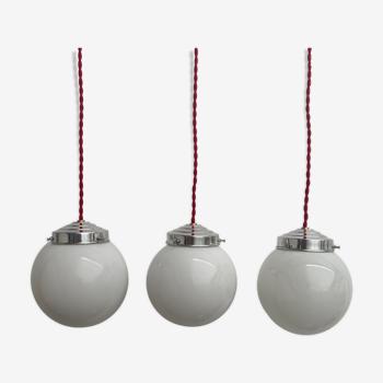 Lot 3 small suspensions opaline 13 cm vintage