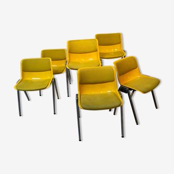 Ensemble de 6 chaises Borsani jaunes