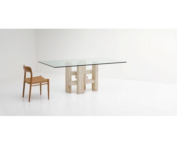 Table à manger travertine par Willy Ballez