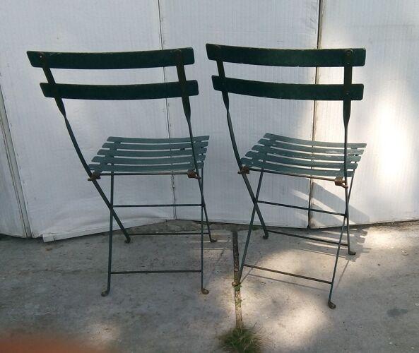 Lot de 2 chaises bistrot jardin pliantes entiérement fer