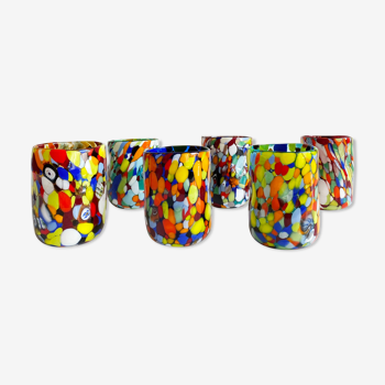 Ensemble de 6 verres Italiens multicolores en verre de Murano
