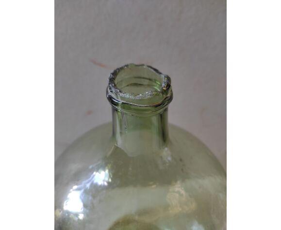 Vintage former lady-jeanne in green glass 10 L broken neck