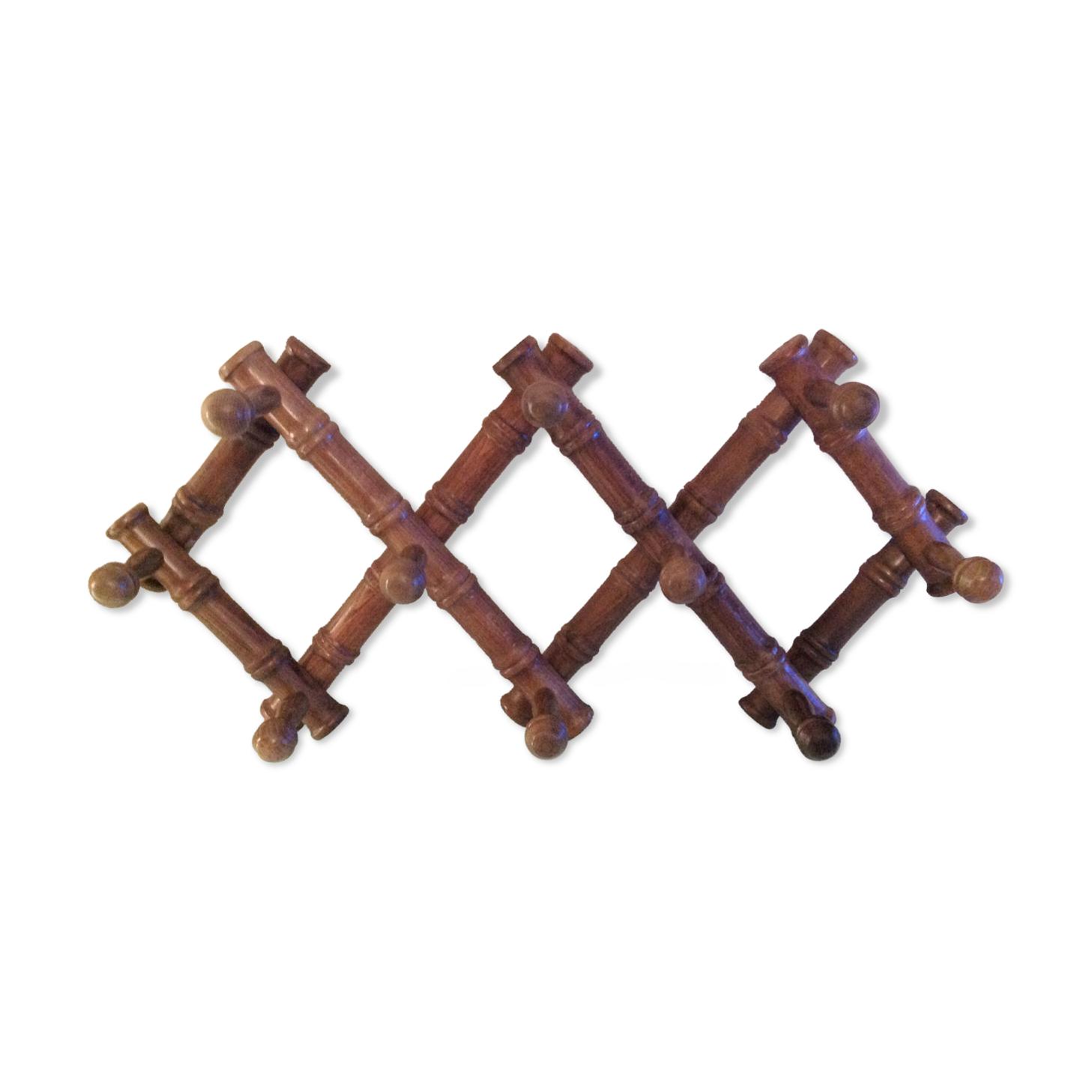 Porte manteau accordéon en bois à dix têtes  / vintage années 60-70