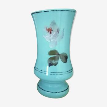 Vase opaline vert céladon peint fleurs