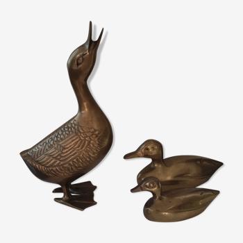 Trio de canards vintages en bronze
