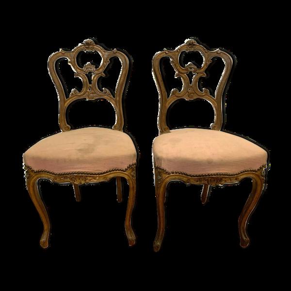 Selency Paire de chaises de style Louis XV en noyer sculpté Xx siècle