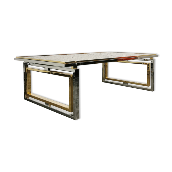 Table basse en verre chrome et laiton Roméo Rega 1970