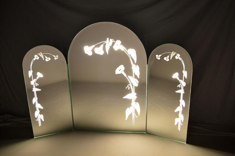 Miroir triptyque éclairé Italie années 1970-1980 144x102cm