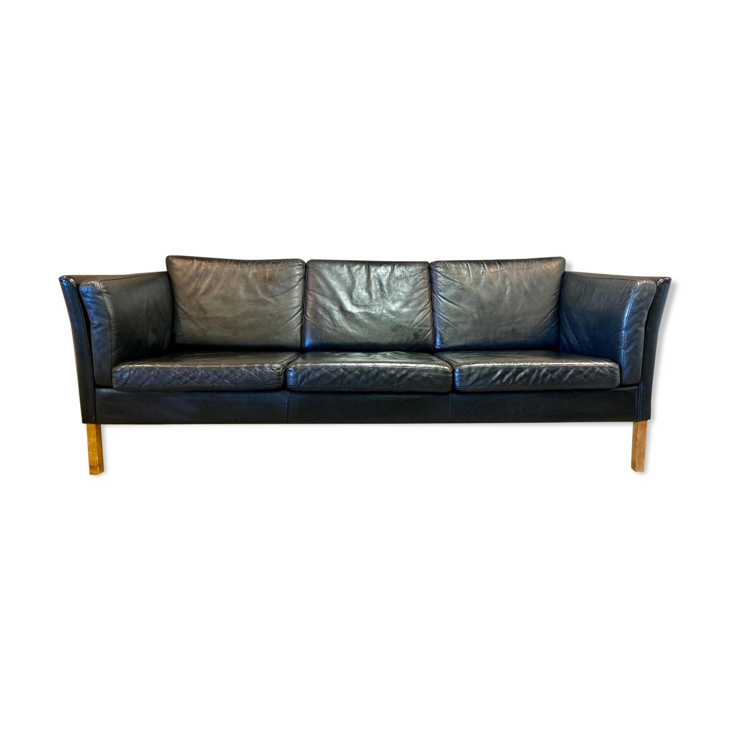 Canapé 3 places cuir noir design scandinave