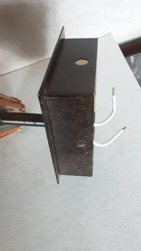 Applique rotin verre métal années 70