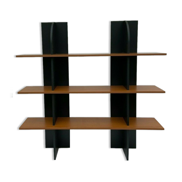 Selency Etagere 1980 3 niveaux fond noir melamine design