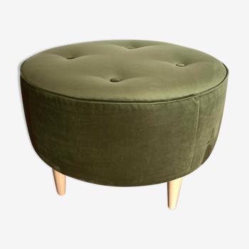 Round ottoman, green velvet