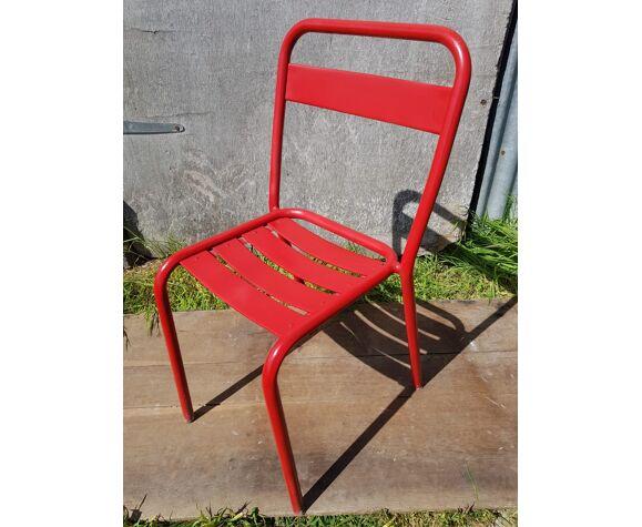 Serie 4 chaises Tolix T1 design Xavier Pauchard métal rouge vintage