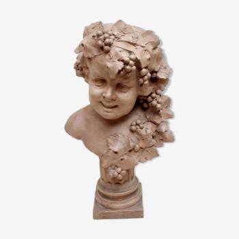 Buste de Bacchus enfant en terre cuite