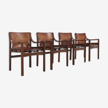 Chaises à manger en cuir vintage brésilien des années 1960, ensemble de 4