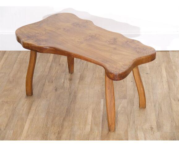 Table basse brutaliste forme libre en orme massif 1970