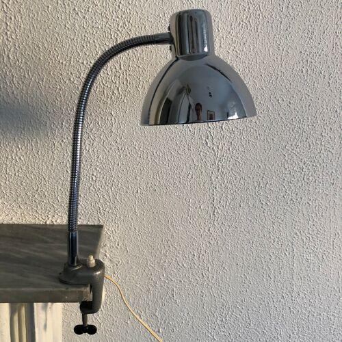 Lampe vintage 1960 de bureau à étau chromée - 37 cm