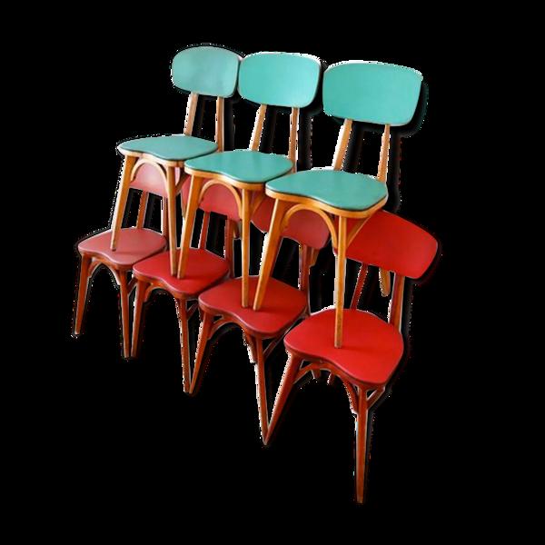 Ensemble de 7 chaises Baumann 1950
