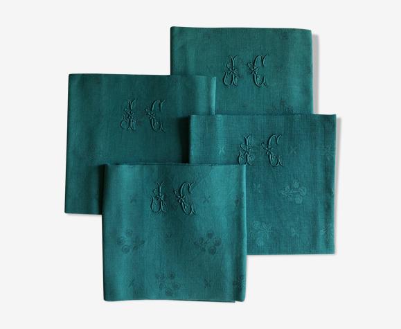 Lot de quatre serviettes de table anciennes vert émeraude