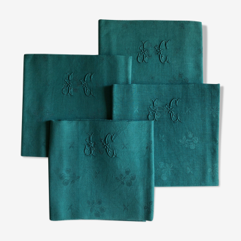Set of four old emerald green napkins