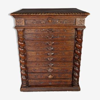 Meuble rangement couture 10 tiroirs en chêne à belle patine du temps xixe siècle sb