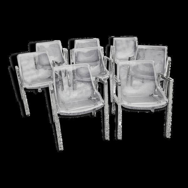 Set de 8 fauteuils des années 70 chromés  et plexi fumé