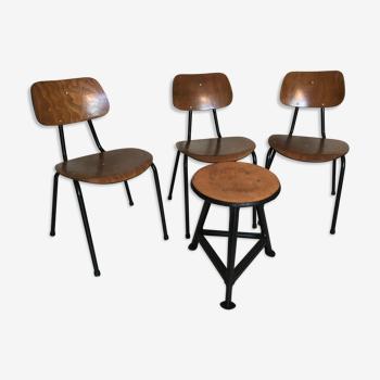 Set de 3 chaises et 1 tabouret vintage type écolier bois et métal