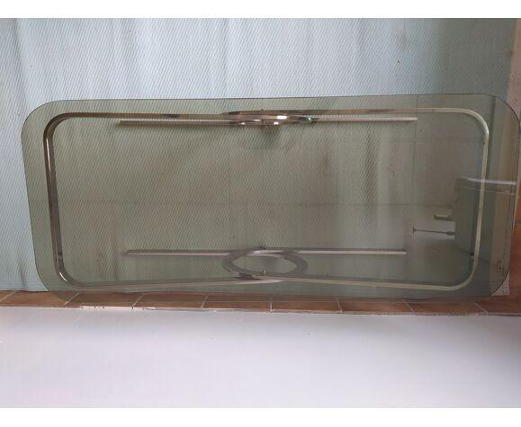 Table basse vintage années 70 rectangulaire plateau verre fumé pied chromé