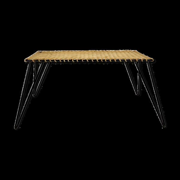 Table basse en rotin et métal par Raoul Guys, France c1950-60