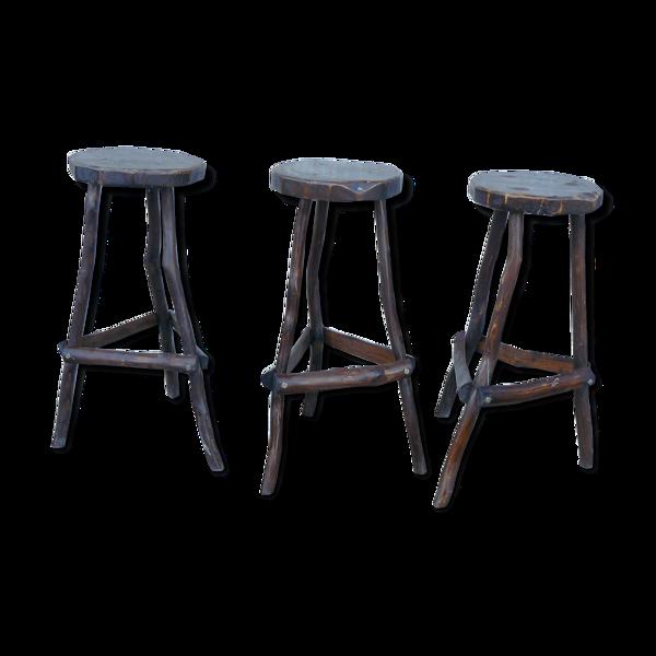 Série de 3 tabourets de bar brutalistes vintage 1950-60