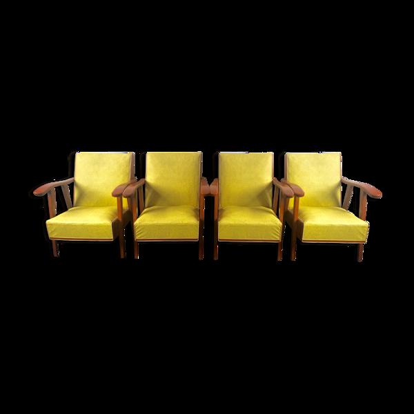 Selency Lot de 4 fauteuils moderniste