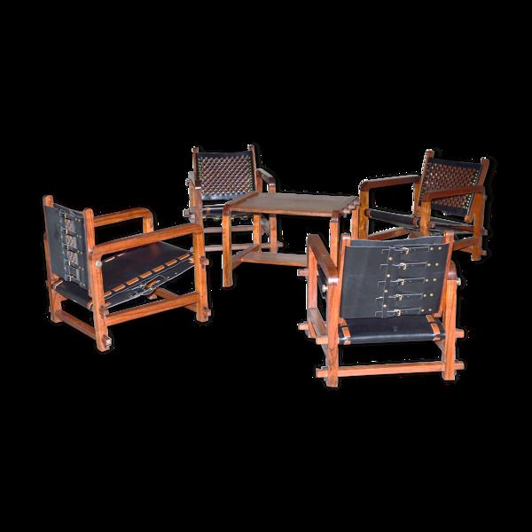 Selency Ensemble de 4 fauteuils et une table basse en Bunbinga et cuir