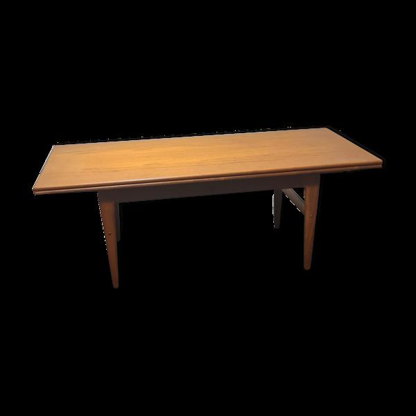 Table basse danoise réglable en teck, Kai Kristiansen