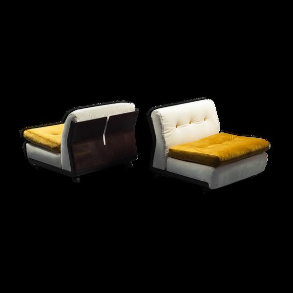 Paire de fauteuils en velours Amanta Bellini b&b années 70 vintage modernié