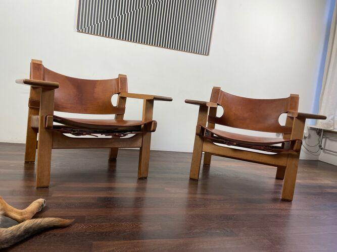 Paire de Spanish chairs par Borge Mogensen pour Fredericia