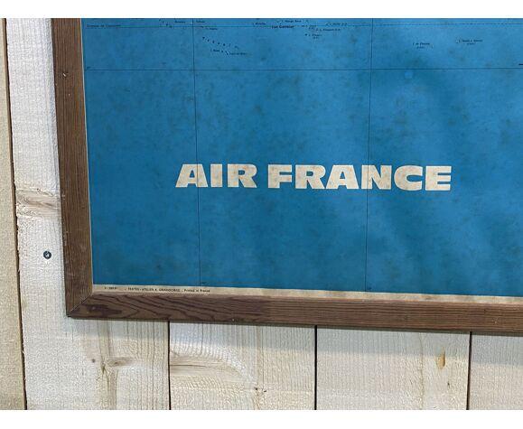 Planisphère Air France encadré des années 60-70