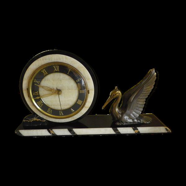 Horloge en marbre, granit et héron en laiton - années 40/50