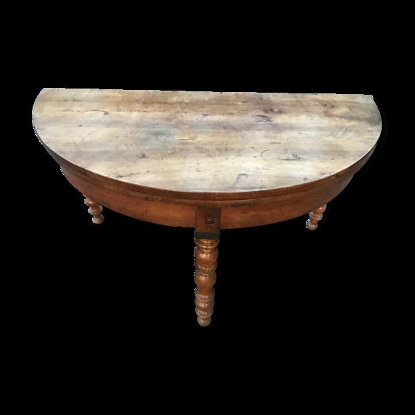 Selency Table demi-lune Louis Philippe en noyer 19eme