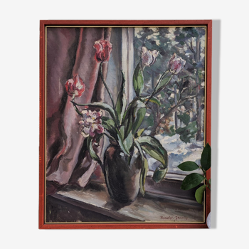 Huile florale du milieu du siècle sur toile par la fenêtre