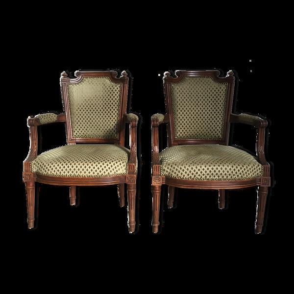 Paire de fauteuils cabriolet Louis XVI